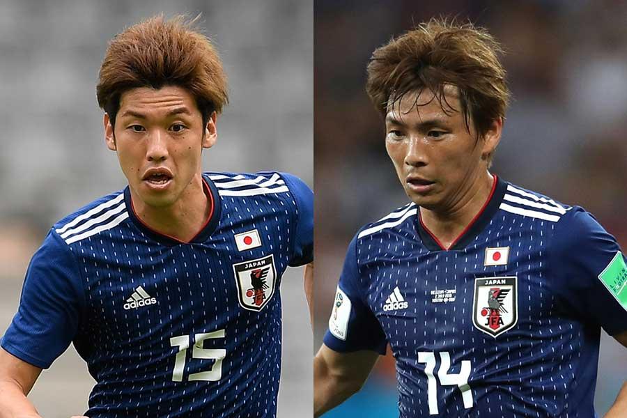 サッカー日本代表の大迫勇也(左)と乾貴士【写真:Getty Images】