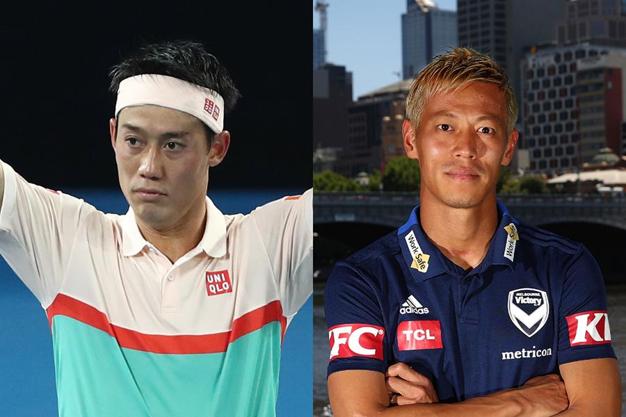 錦織(左)が本田圭佑との2ショットを公開した【写真:Getty Images】