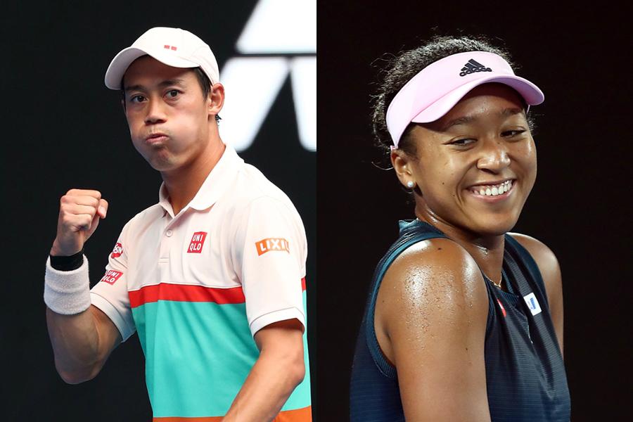 全豪オープン3回戦進出を決めた錦織圭(左)と大坂なおみ【写真:Getty Images】