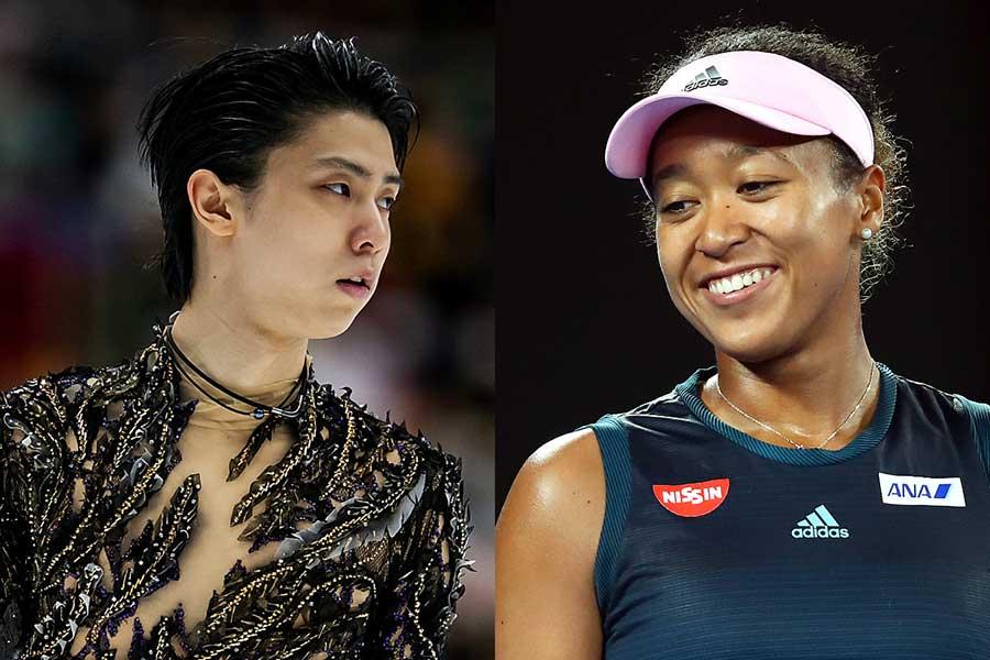 2018年のスポーツ界を沸かせた羽生結弦(左)と大坂なおみ【写真:Getty Images】