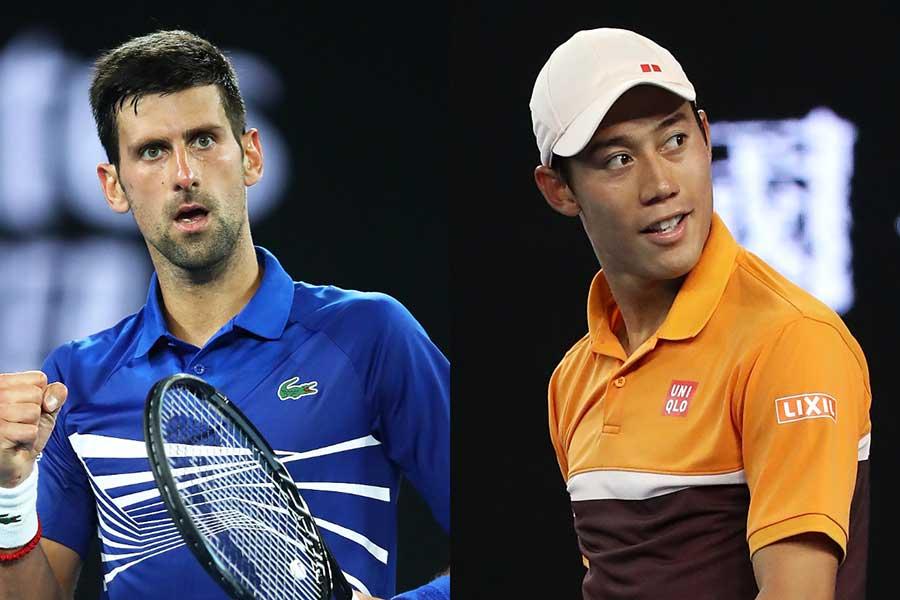 全豪オープン準々決勝で顔を合わせるジョコビッチ(左)と錦織【写真:Getty Images】