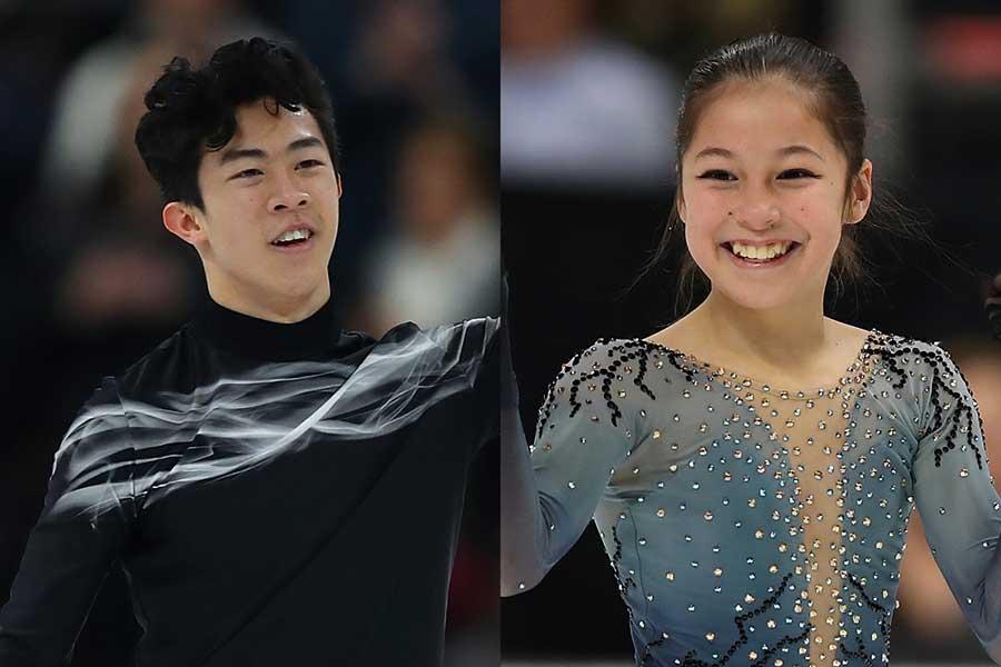 ネイサン・チェン(左)とアリサ・リウ【写真:Getty Images】