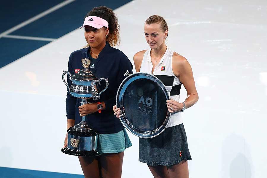 全豪オープン決勝を戦った大坂(左)とクビトバ【写真:Getty Images】