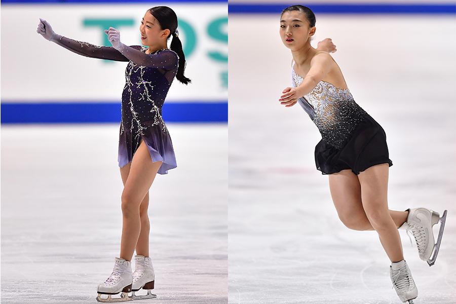 紀平梨花(左)と坂本花織【写真:AP】