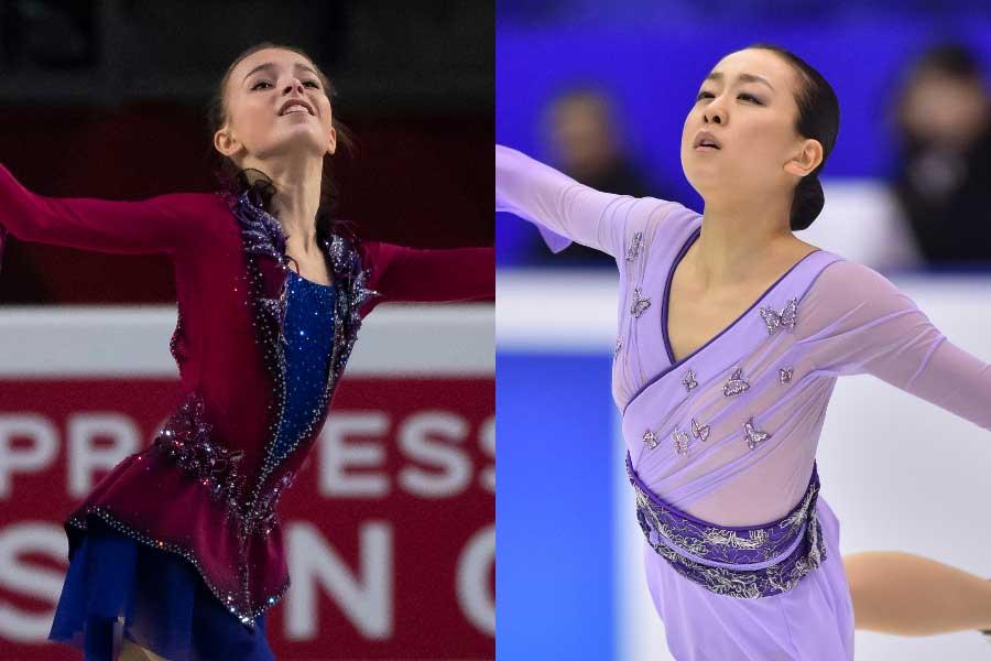 シェルバコワ(左)は憧れの存在として浅田真央さんの名を挙げた【写真:Getty Images】