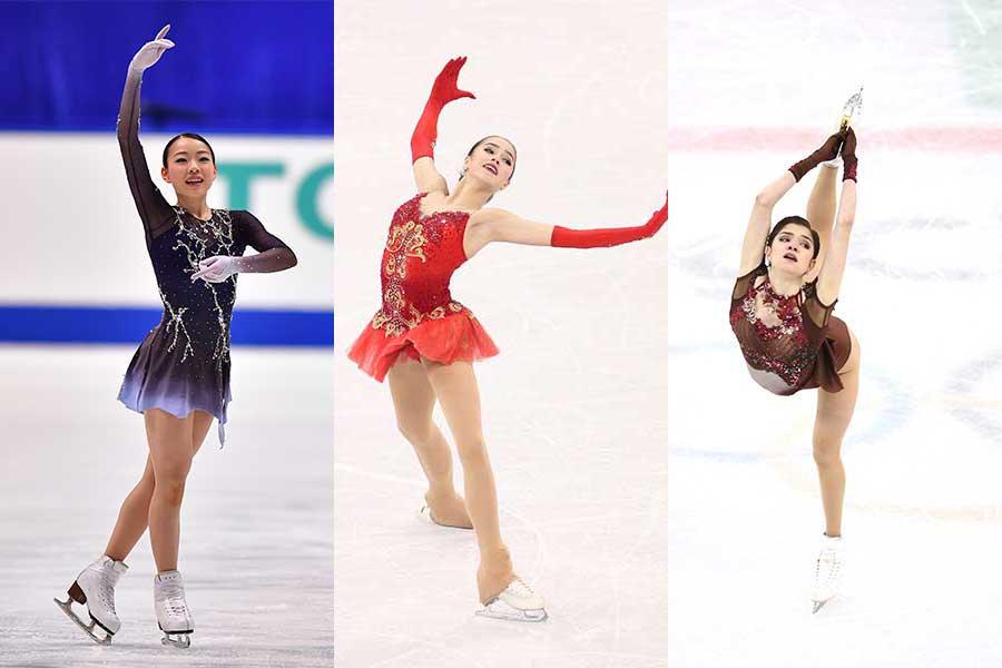 紀平、ザギトワ、メドベージェワ(左から)【写真:Getty Images】