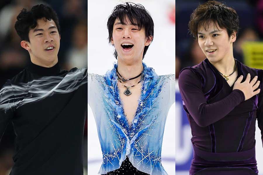左から、チェン、羽生、宇野【写真:Getty Images】