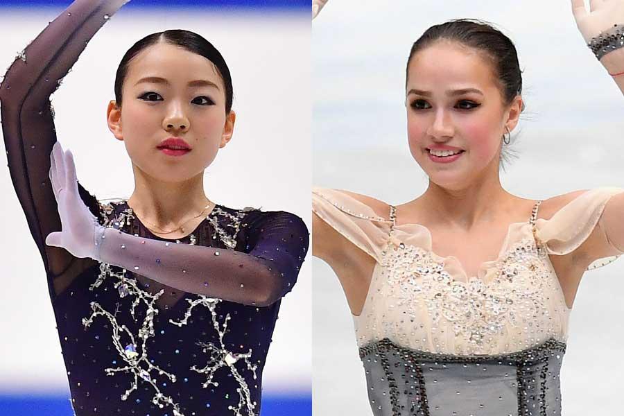 紀平梨花(左)とアリーナ・ザギトワ【写真:Getty Images】