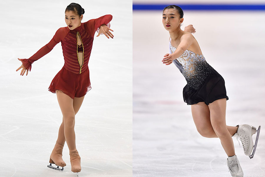 村上佳菜子(左)と坂本花織【写真:Getty Images】