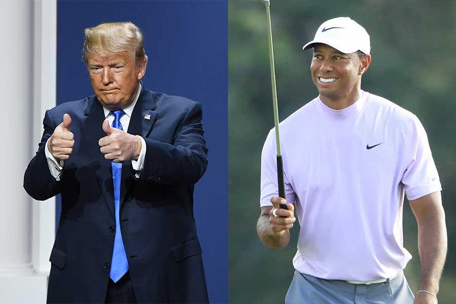 ドナルド・トランプ米大統領(左)とタイガー・ウッズ【写真:Getty Images】