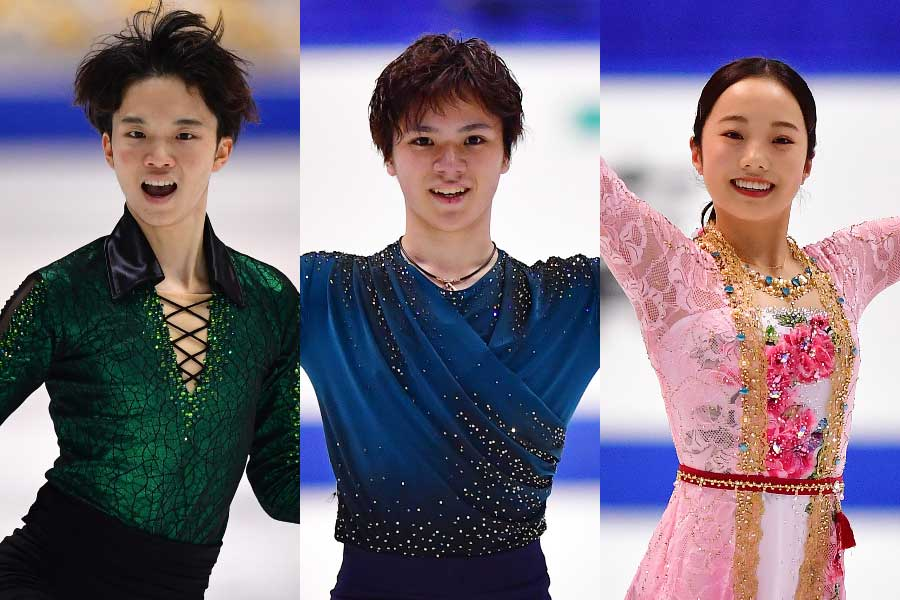 友野(左)、宇野(中央)、本田(右)【写真:Getty Images】