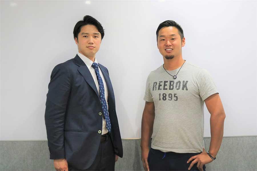 対談では自身の進路選択について語った谷田成吾(左)と内田聖人【写真:編集部】
