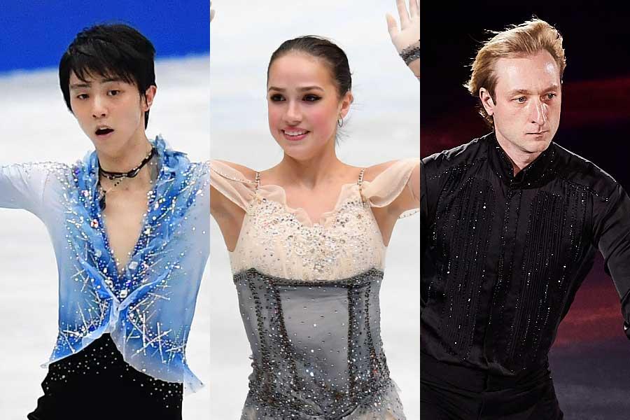 羽生結弦(左)、アリーナ・ザギトワ(中央)、エフゲニー・プルシェンコ氏(右)【写真:Getty Images】