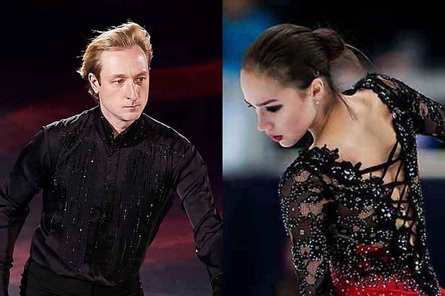 エフゲニー・プルシェンコ氏(左)とアリーナ・ザギトワ【写真:Getty Images】