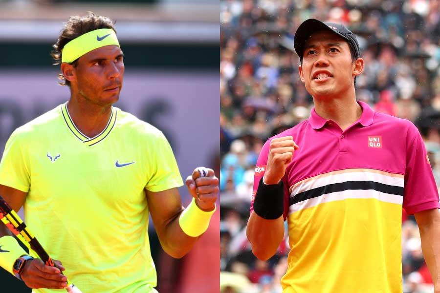 全仏オープン準々決勝で対戦するナダル(左)と錦織【写真:Getty Images】