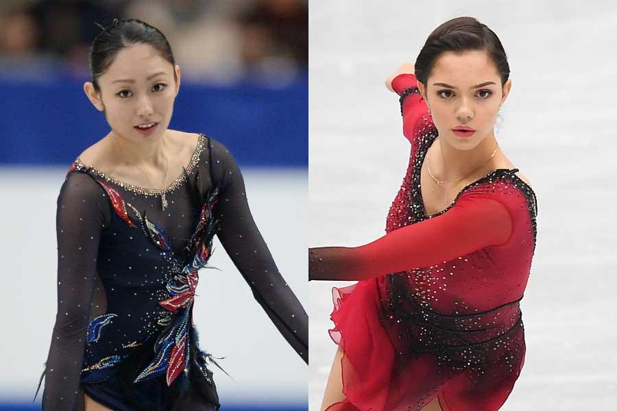 安藤美姫さん(左)とエフゲニア・メドベージェワ【写真:Getty Images】