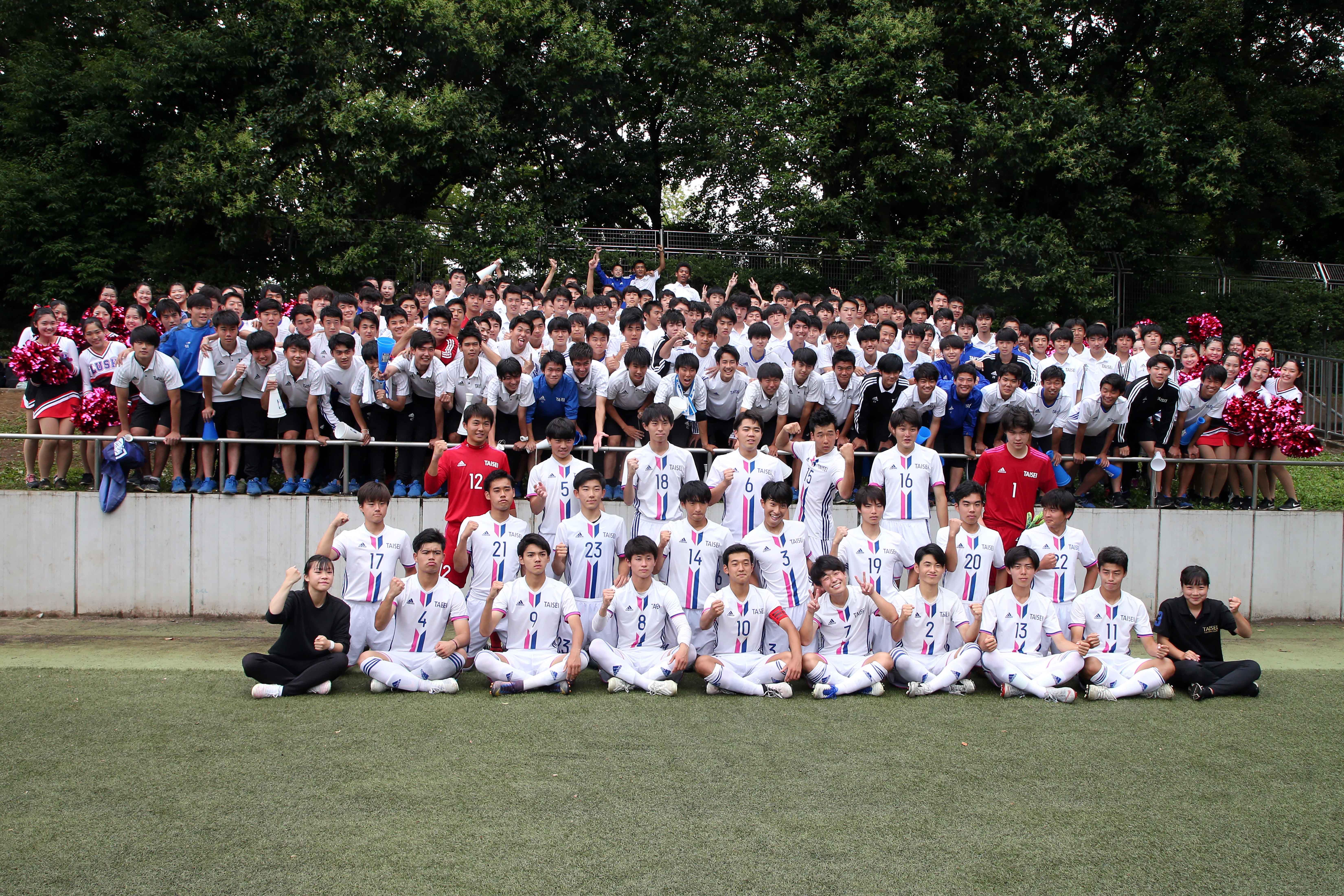 全国大会初出場を決めた大成高校サッカー部【写真:平野貴也】