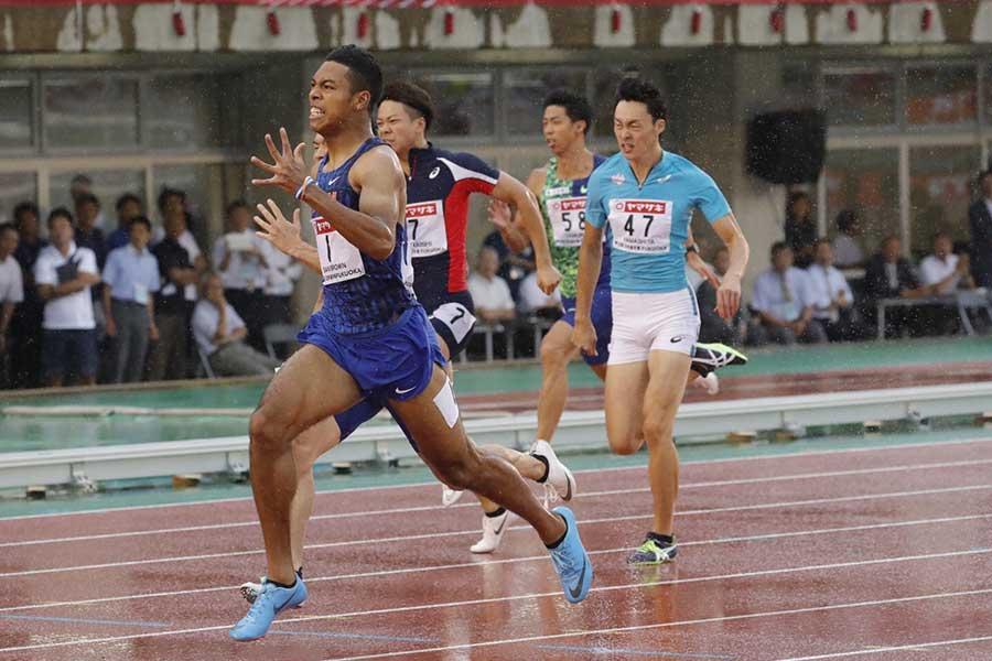 100メートルに続く2冠を達成したサニブラウン・ハキーム【写真:奥井隆史】