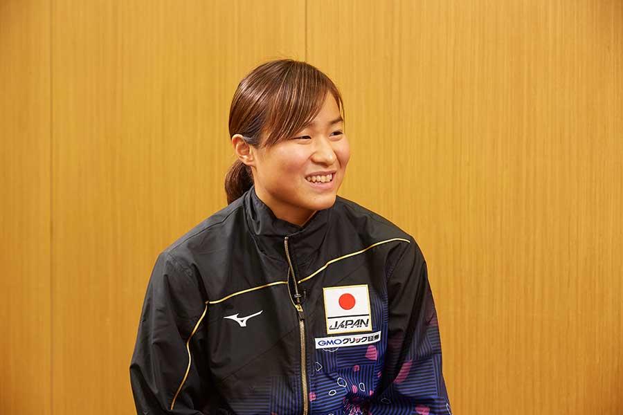 女子200メートルバタフライ、女子メドレーリレーに出場する牧野紘子【写真:テレビ朝日】