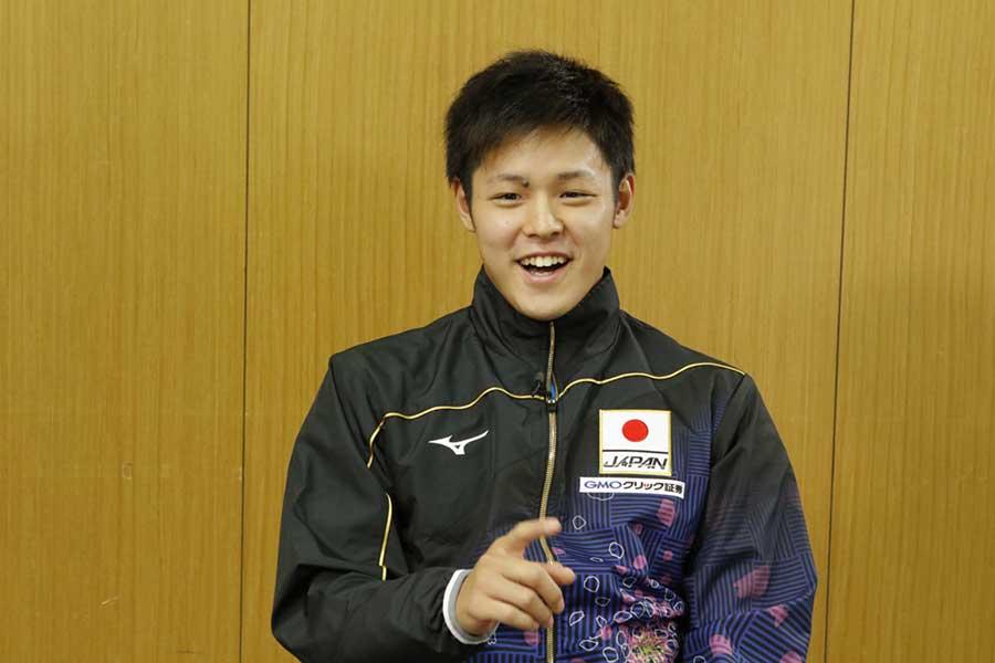 男子200メートル平泳ぎに出場する小日向一輝【写真:テレビ朝日】