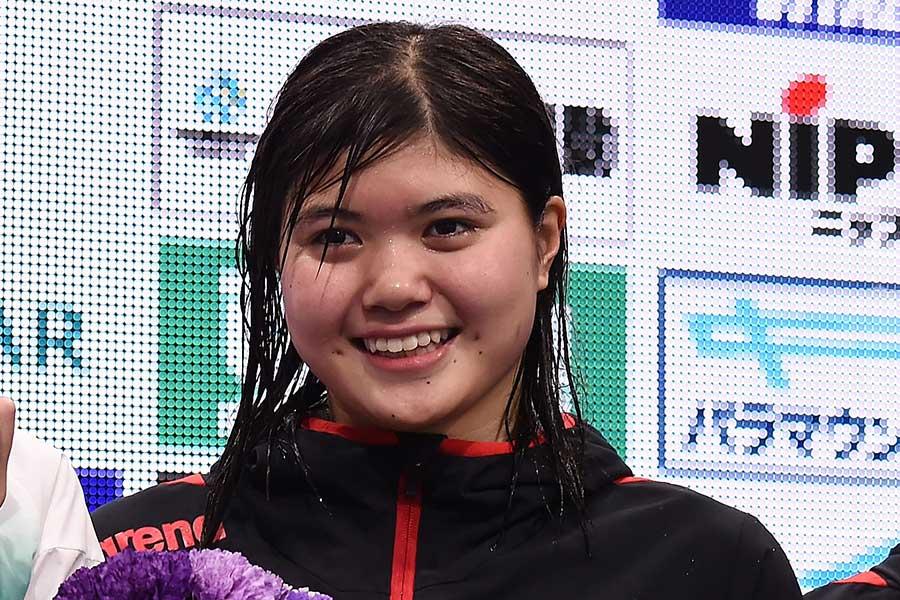 女子200メートルバタフライに出場する長谷川涼香【写真:Getty Images】