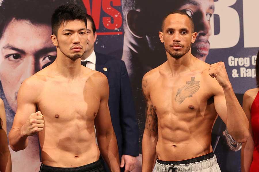 WBA世界ミドル級タイトルマッチに挑む村田(左)とブラント【写真:浜田洋平】