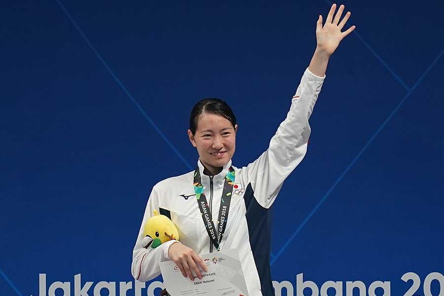 世界水泳初出場を決めた酒井夏海【写真:Getty Images】
