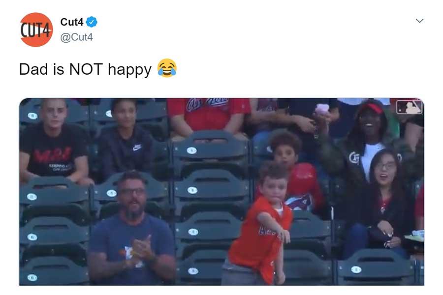 ホームランボールを投げ返す少年が話題に(画像はスクリーンショット)