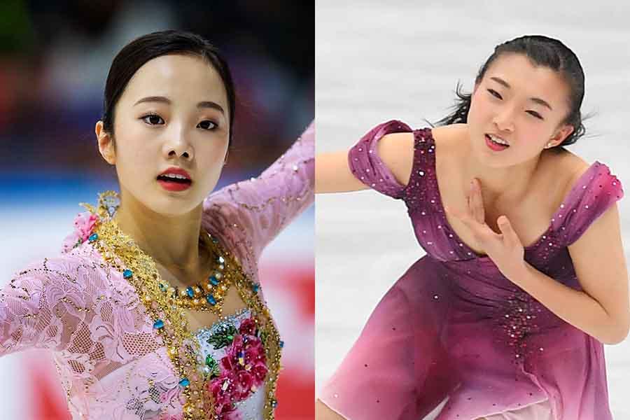 本田真凜(左)と坂本花織【写真:Getty Images】