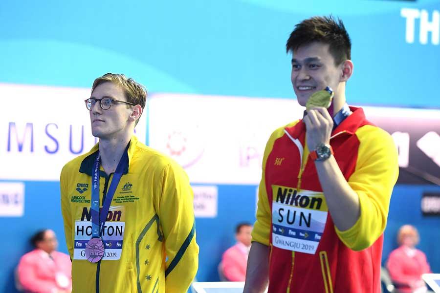 400メートル自由形でともにメダルを獲得したホートンと孫楊【写真:Getty Images】
