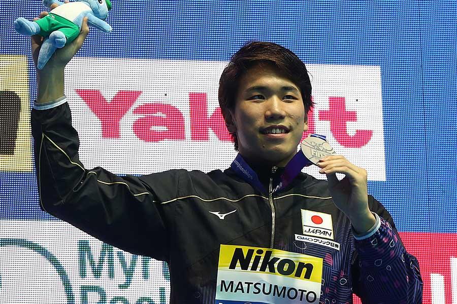 男子200メートル自由形で日本人初の銀メダルを獲得した松元克央【写真:Getty Images】