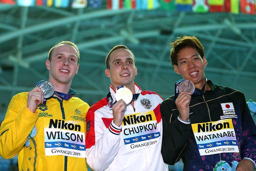 渡辺一平は2大会連続で表彰台に上がった【写真:Getty Images】