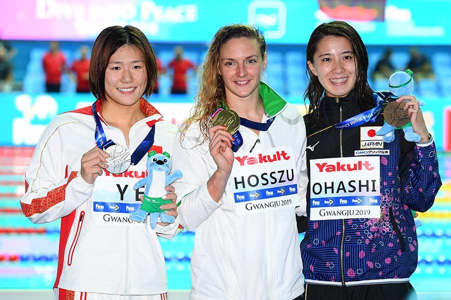 女子400メートル個人メドレーで銅メダルを獲得した大橋悠依【写真:Getty Images】