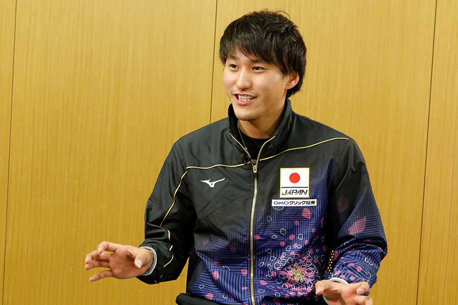 男子200メートル背泳ぎに出場する砂間敬太【写真:テレビ朝日】