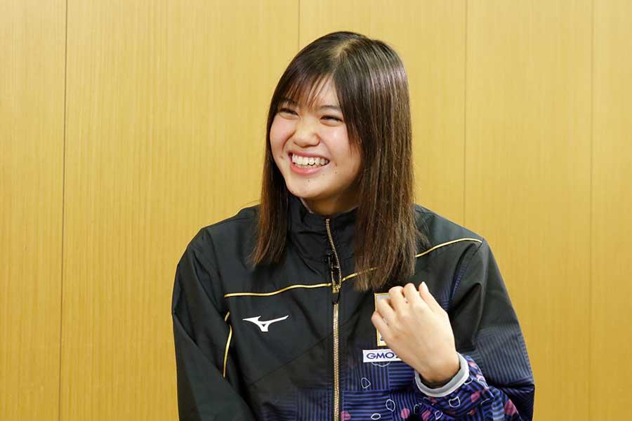 女子200メートルバタフライに出場する長谷川涼香【写真:テレビ朝日】