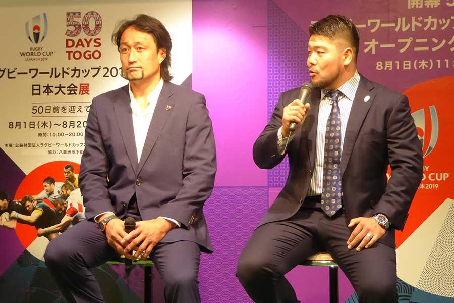 「開幕50日前ラグビーワールドカップ2019日本大会展 オープニングセレモニー」が開催された【写真:佐藤直子】