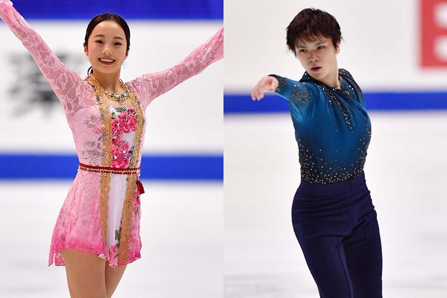 本田真凜(左)と宇野昌磨【写真:Getty Images】