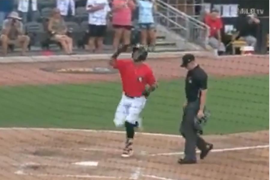 ベース踏み忘れで本塁打取り消しの騒動に(画像はスクリーンショットです)