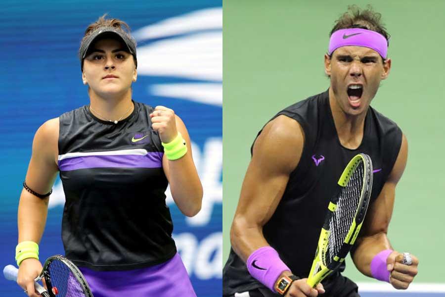 全米オープンで優勝したビアンカ・アンドレースク(左)とラファエル・ナダル【写真:Getty Images】