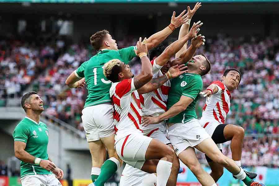 日本対アイルランド戦でファンが着ていたジャージが話題を呼んだ【写真:Getty Images】