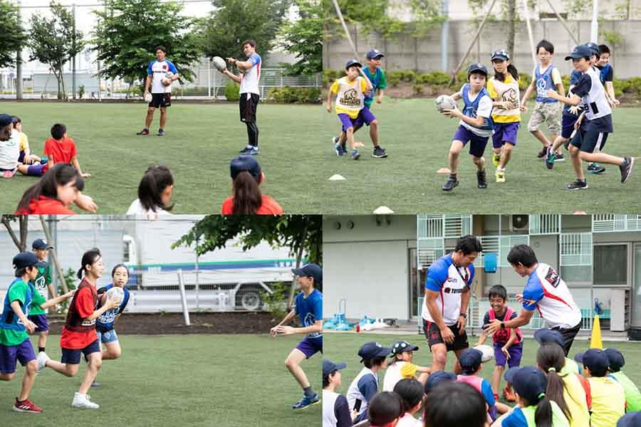 ラグビー元日本代表と体を動かす児童たち【写真:松橋晶子】