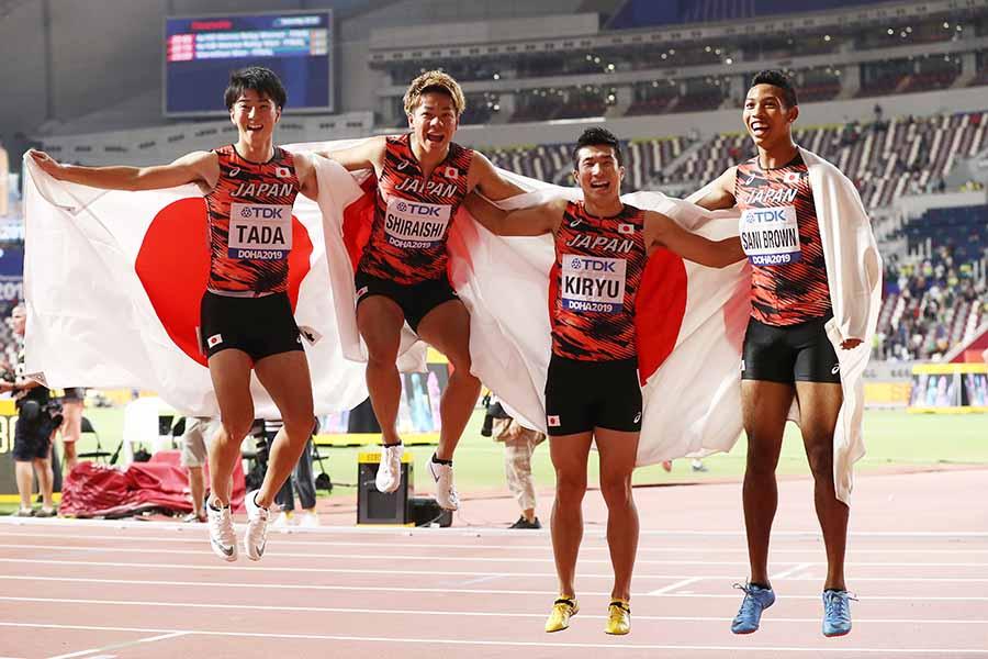 アジア新記録で銅メダル獲得の多田、白石、桐生、サニブラウン(左から)【写真:Getty Images】