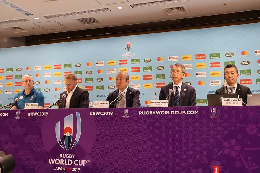 国際統括団体のワールドラグビーと組織委員会は12日の2試合の中止を発表、日本戦は13日朝に開催判断される【写真:浜田洋平】