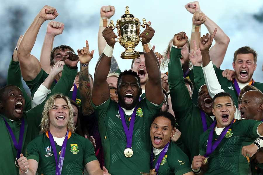 ラグビーW杯日本大会で優勝を果たした南アフリカ。最初はちゃんと蓋があったはずだが…【写真:Getty Images】