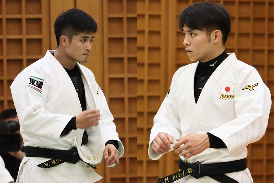 丸山城志郎(左)・阿部一二三(右)【写真:浜田洋平】