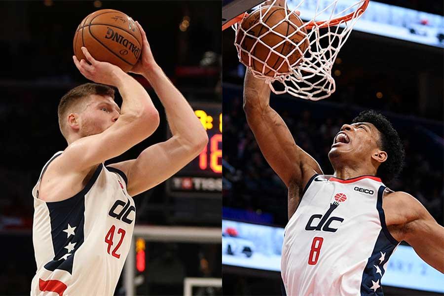 デイビズ・ベルターンズ(左)と八村塁【写真:Getty Images・AP】