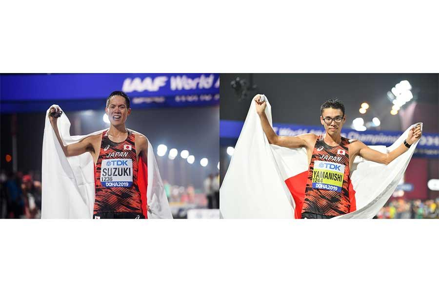 ドーハ世界選手権で金メダルを獲得した男子50キロ競歩・鈴木雄介選手(左)と男子20キロ競歩・山西利和選手