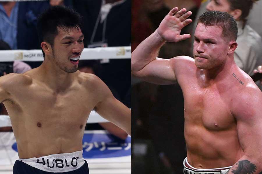村田諒太(左)とサウル・アルバレス【写真:Getty Images】
