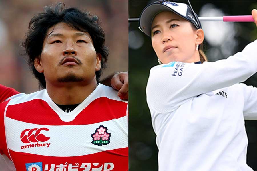 稲垣啓太(左)と上田桃子【写真:Getty Images】