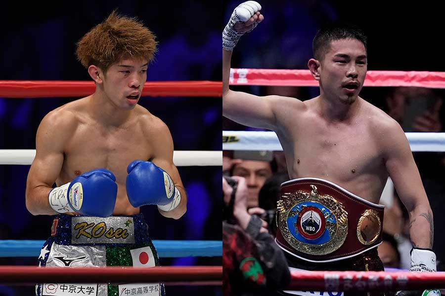 田中恒成(左)と井岡一翔【写真:Getty Images】